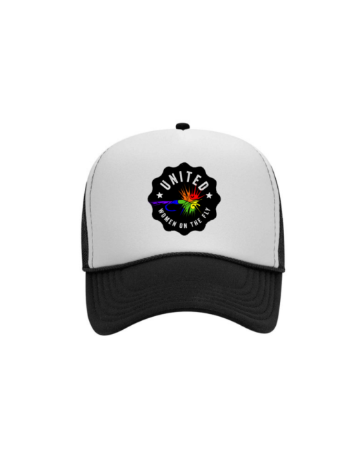 Black and White Foam United Women on the Fly Trucker Hat - Rainbow Logo - Front View